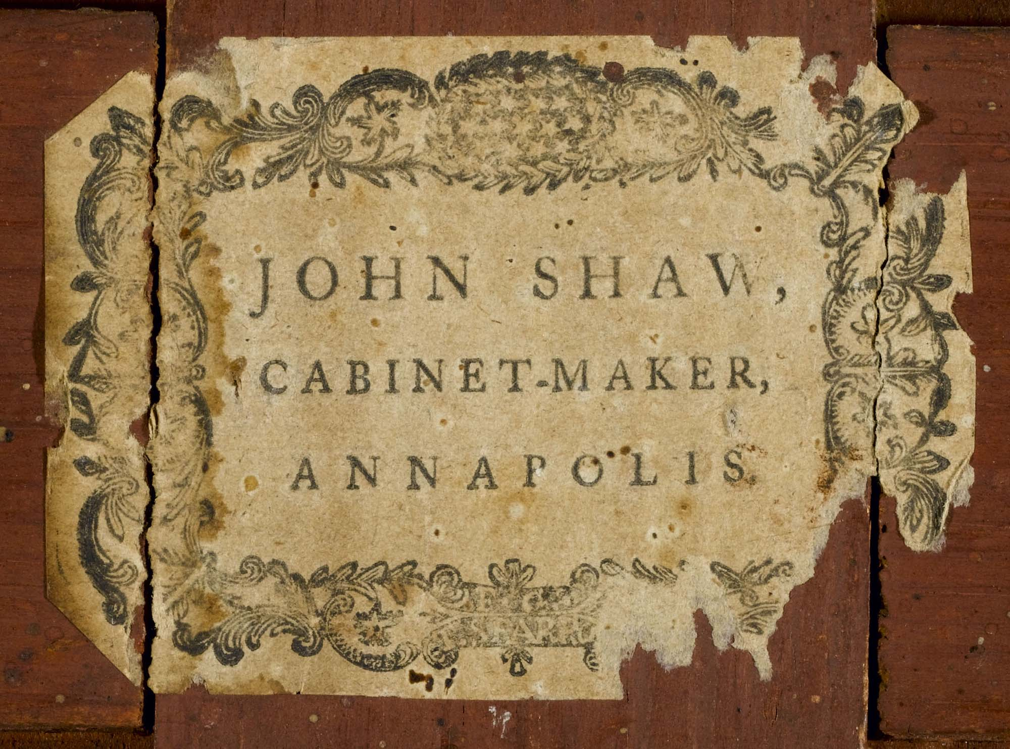 John Shaw Bookcase Label